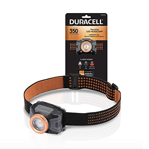 Duracell 350 Lumen Focusing LED Headlamp for Everyday Use  Comfortable and UltraStrong Design with 3 Modes and 3AAA Batteries Included Great for InDoor amp OutDoor Use