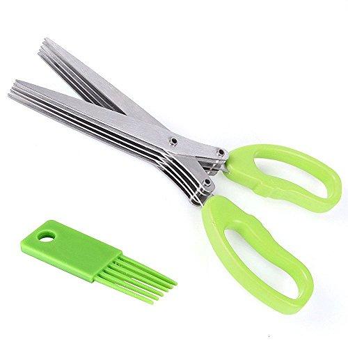 Pomemall Multipurpose Kitchen Scissors, Herb Scissors With 5 Cutter Kitchen Gadgets