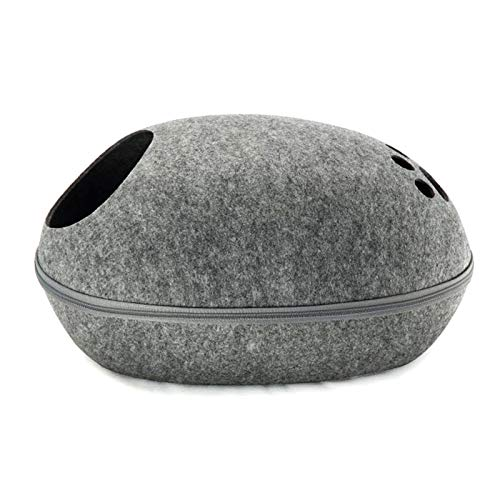 ZQDL Dog Cat Bed Cave Sleeping Bag Zipper Egg Shape Felt Cloth Pet House Cat Basket Products for Cat Animals Supplies