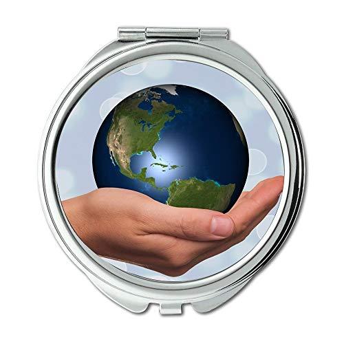 Spiegel, Maus Weg konzentrieren träumen Erde, Hand Halten Globus Erde Kontinente USA Amerika Schminkspiegel, Taschenspiegel, Tragbare Spiegel