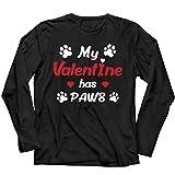 lepni.me T-Shirt Manches Longues Homme Ma Valentine a des Pattes Cadeau de la Saint-Valentin pour Les Amoureux des Animaux (L Noir Multicolore)