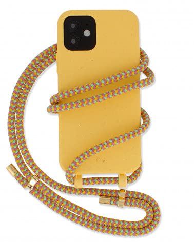 HY - Biodegradabe iPhone SE / 8/7 / 6 Cover, Yellow Removable Necklace Case, Sweet Rainbow Handykette