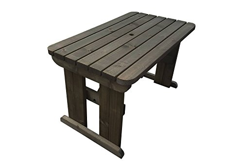 HOLLIES Rounded Wooden Garden Dining Picnic Table - Heavy Duty - Handmade Outdoor Furniture in UK - Pressure Treated (8ft, Rustic Brown)
