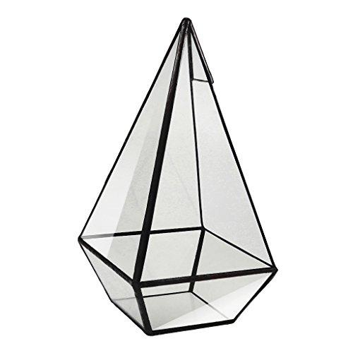 Milageto Fioriera In Metallo Con Diamanti Geometrici Per Terrari Fioriera Per Piante Grasse - 12 X 12 X 24 Centimetri