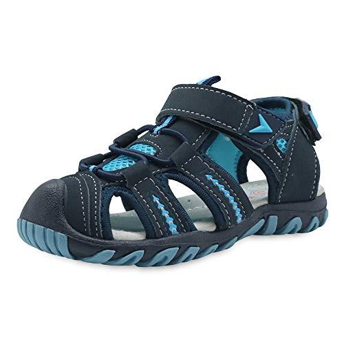 JACKSHIBO Sandalen Jungen Mädchen Strandschuhe Kinder Geschlossene Trekkingsandalen Atmungsaktiv mit Klettverschluss Sommer Outdoor (Blau,24EU)