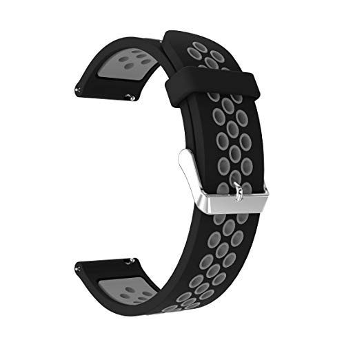 JWWLLT para Huami Amazfit GTS 2 & GTS2 Mini BIP U Pop GTR 42mm Correa Pulsera de Silicona 20 mm Reloj Reloj Reemplazo Reloj de Reloj Transpirable (Band Color : Black Gray)
