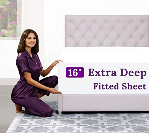"Queen Size Fitted Sheet Only - [2 Pack – 16""-Inch] Deep Pocket Queen Fitted Sheet - Best Fit for 14"" - 18"" Deep Pocket Mattress - Bottom Fitted Bed Sheets Only Bedding - Queen Size - Navy Blue"