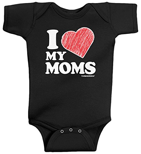 Threadrock Baby Boys' I Love My Moms Infant Bodysuit 6 Months Black