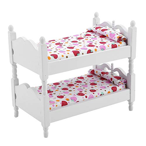 Puppe Etagenmöbel Spielzeug Mini Möbel Möbel Puppenmöbel Etagenbett Langlebige Miniatur Puppen Haus Bett für Puppenhaus(Pink strawberry)