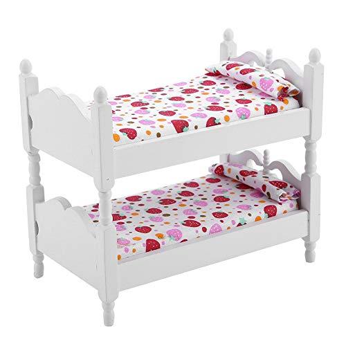 SunshineFace - Cama de muñeca 1:12 casa de muñecas, mini muebles para niños, dormitorio, modelo litera, juguetes