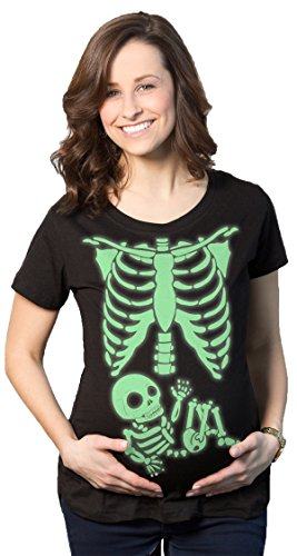 Crazy Dog Tshirts - Maternity Skeleton Baby T Shirt Funny Cute Pregnancy Halloween tee Announcement (Glow) - XL - Camiseta De Maternidad