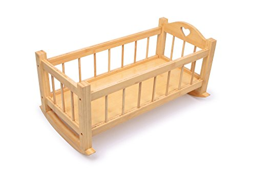 Gamez Galore Natural Nature Solid Wooden Dolls Rocking Cradle Crib Cot Bed