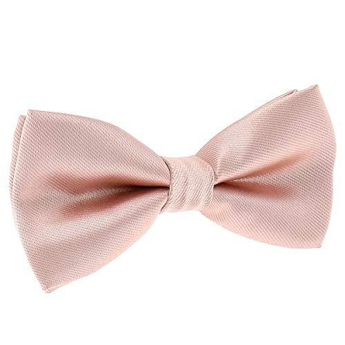 Papillon Rosa cipria - Rosa gold - 30 colori - Papillon Uomo Matrimonio e Festa - Tessuto di Raso solido - Pre-legato, Adulto