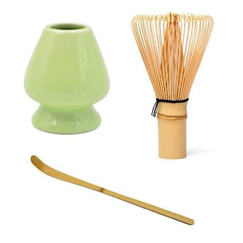 Matcha - Juego de batidor de te verde de bambu + cuchara de bambu + soporte para batidor de ceramica para ceremonias tradicionales japonesas de te (verde claro)