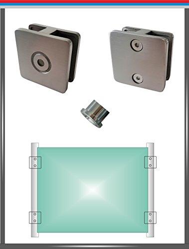 PMC Glashalter Edelstahl V4A Glasklemme Glass Clamp Klemmhalter Geländer eckig rund (2-seitig offen, Glas 8,00 mm)