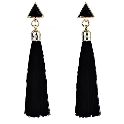 Women's Bohemian Ethnic Hanging Rope Tassel Earring Ear Stud Hanging Drop Eardrop for Women (Black,...