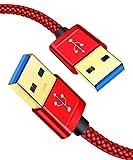 JSAUX Cable USB A a USB A【1M+2M/2Pack】,Cable USB 3.0 Tipo A Macho a Tipa A Macho para Computadoras, Cámaras, Parlantes de Automóvil Bluetooth, Monitores etc-Rojo