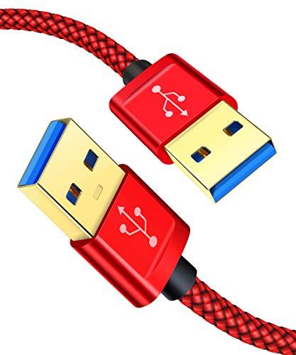 JSAUX Cavo USB 3.0 Tipo A Maschio a Tipo A Maschio 5Gbps (2 Pezzi:1M+2M) per Dischi Rigidi, Altoparlanti, Computer, Lettore Blu-Ray, Raffreddamento PC Portatile, WD My Cloud, Dvd ECC - Rosso