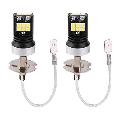 2PCS Super Bright 15W Coche LED Lámpara de luz antiniebla Bombillas de luz diurna para H3
