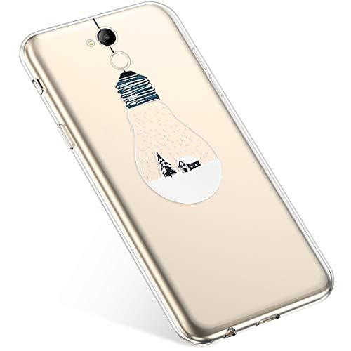 Uposao Coque pour Huawei Honor V9 Play Etui Silicone TPU Housse Souple Transparente Coque Noël Cerf Flocon de Neige père Noël Sapin de Noël Elk Christmas Motif Ultra Mince Premium Hybrid Case Coque.