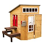 KidKraft Modern Outdoor Wooden Playhouse with Picnic Table, Mailbox and Outdoor Grill (00182), Natural