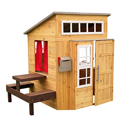 KidKraft Modern Outdoor Wooden Playhouse with Picnic Table, Mailbox and Outdoor Grill ,Gift for Ages 3+