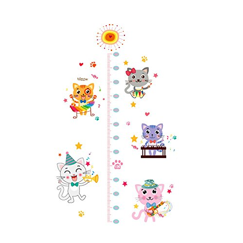 Winhappyhome Cats Children Height Measurement Chart Art Muraux Stickers pour Kids Room Garderie Décalcomanies Décor Amovibles