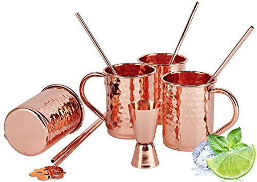 Juego de 4 tazas de cobre para mula de Moscú, tazas creativas de cobre con punta de martillo con interior chapado en cobre para cerveza y cóctel, 4 pajitas de cobre, 1 varilla agitadora, 2 onzas