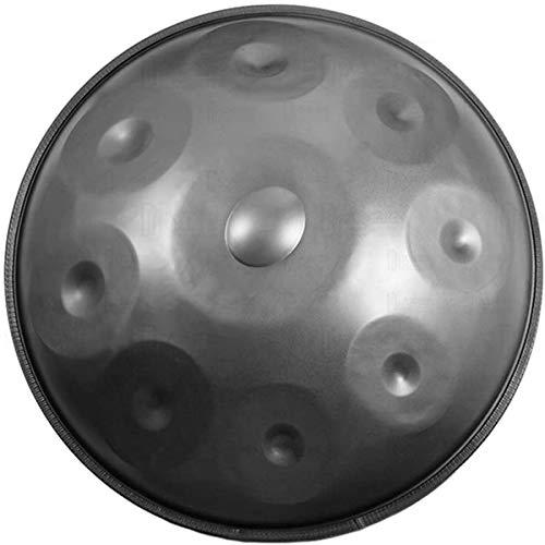 Tambores de Acero del Tambor en el Menor de D 10 Notas (D3 A BB C D E F G A), Helmholtz-Resonador, 22inch / 56cm armónica percusión for Sound Healing, con Suave Bolsa, Gray,Tongue Dr