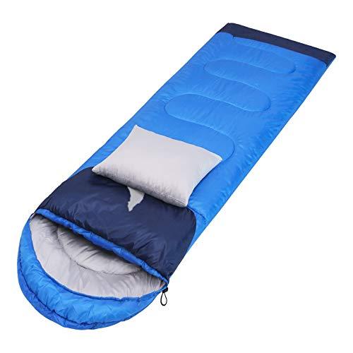 thematys® Deckenschlafsack Trekking Schlafsack - warm 4 Jahreszeiten Mumienschlafsack Camping, Outdoor, Wandern, Festivals & Angeln Winter Sommer (Blau, Gewicht 1,35kg)