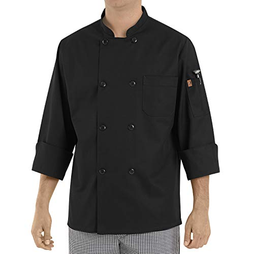 Red Kap Chef DesignsEight Pearl ButtonBlack Chef Coat, Black, X-Large