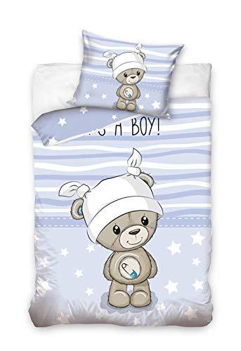 Baby Bettwäsche Set 2tlg. 100% Baumwolle Größe: 100x135 cm, 40x60 cm (Bärchen Blau)