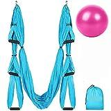 Slosy Columpio Yoga Azul Kit Meditacion Hamaca para Pilates de Tela Acrobacias Material Gym Entrenamiento Aeroyoga Estructura Colgante Techo Trapecio Ejercicio Aereo Soporte Puerta Pack Pelota