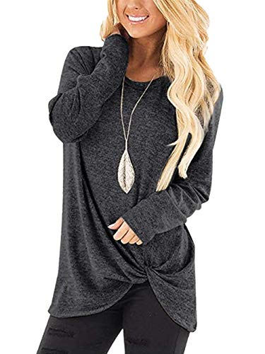 Wonans Cowl Neck Casual Slim Tunic Tops Long Sleeve Blouses Christmas Deep Gray L