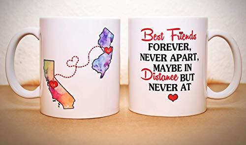 Long Distance Mug - BFF Coffee Mug - Custom State Coffee Mug - Best Friends Mug - Personalized with Your Custom Quote, All States, Countries Available - 15 oz ONE MUG
