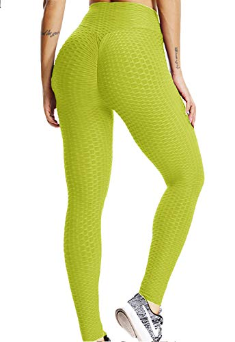 FITTOO Mallas Pantalones Deportivos Leggings Mujer Alta Cintura Transpirables Yoga Fitness Gran Elásticos Amarillo Small