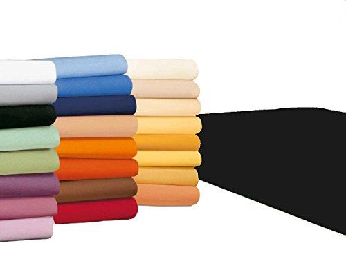 #20 badtex24 Jersey Spannbettlaken, Spannbetttuch, Bettlaken, 90x190 cm – 100x200 cm, Schwarz