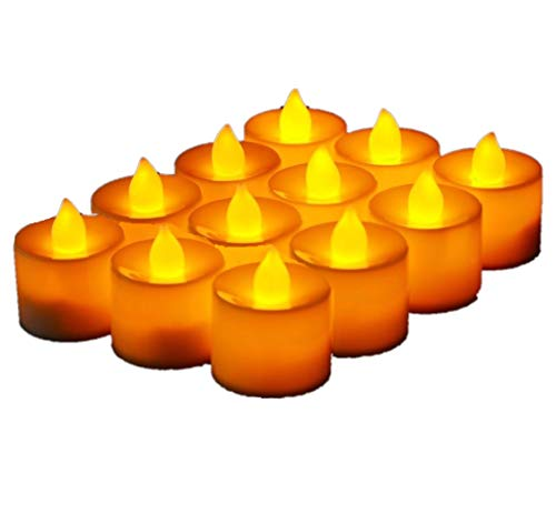 JZK® 12 x Bougie LED Flamme Vacillante chauffe plat avec pile pour extérieur intérieur décorations pour jardin, chambre, mariage, Noël, Halloween, ou diverses fêtes et occasions, jaune