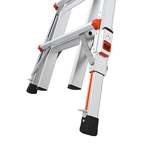 Little Giant Ladders, Velocity with Wheels, M17, 17 Ft, Multi-Position Ladder, Ratchet Leg levelers, Aluminum, Type 1A, 300 lbs Weight Rating, (15417-801)