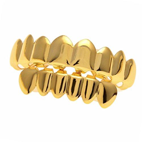 MagiDeal 1 Paar Punk Kappen für Obere & Untere Zahnreihe, 2 Streifen Pinzette Zahn Schmuck - Gold