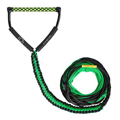 Obcursco 75ft Ski Rope, 5-Section Watersports Ropes with EVA Handle for Wakeboard, Water Ski and Kneeboard (Green and Black)