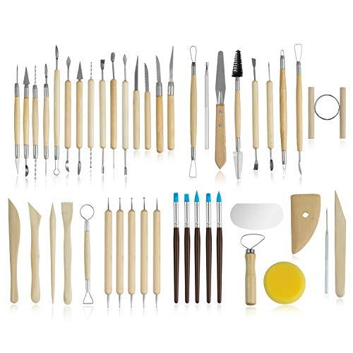 Comius Sharp Ton Werkzeug Set, 45 Stück Clay Tools, Töpferwerkzeug Set, Ton Modellierwerkzeug, Modellier-Werkzeug Sculpting Werkzeug Clay Werkzeug Keramik Skulptur Ton Schnitzen Werkzeug Kit