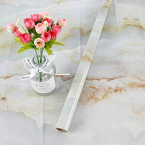 EBuyers 60 cm breit, Marmorpapier, Küchenarbeitsplatte, Schrank, Möbel, PVC, leicht zu entfernen, ohne Spuren zu hinterlassen, mit Glättwerkzeug und Messer, 59,9 x 497,8 cm, Blau