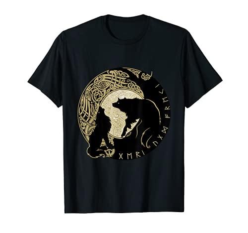 Wikinger Odins Wölfe GERI und Freki Nord Grafik Motiv Mode T-Shirt