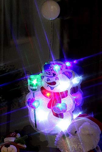 Kamaca LED Fensterbild Fensterlicht Fenstersilhouette mit Saugnapf zur einfachen Befestigung Weihnachtsbeleuchtung Deko Weihnachten (Schneemann)