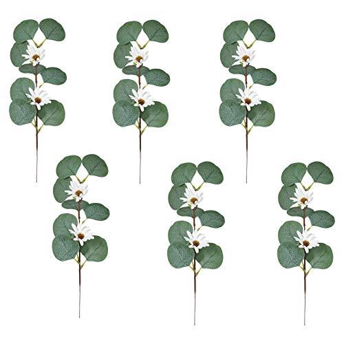 6 unids DIY MIXTO EUCALYPTUS Tallos Bulk Dólar de plata artificial Dólar Eucalipto Hojas Tallos Faux Bebé Eucalipto Plantas Sucursales Para Ramos Floral Ramos De Guirnalda Arreglo De La Casa De Verdor