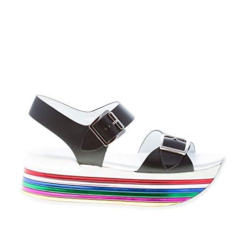 Hogan Donna H369 Sandalo in Pelle Nero con Fibbie e Suola Maxi Multicolore Color Nero Size 40