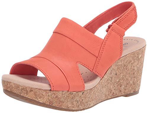 Clarks womens Annadel Ivory Wedge Sandal, Coral Nubuck, 6.5 US