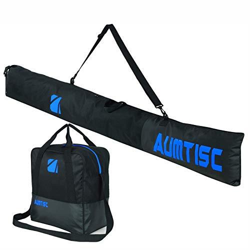 AUMTISC Bolsa De Esquí Y Bolsa De Barco Combinadas Y Acolchadas para 1 Par De Botas De Esquí Bolsa De Esquí con Longitud Ajustable hasta 200 Cm Azul