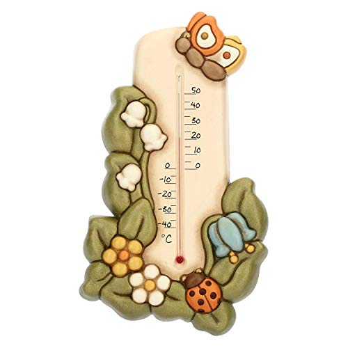 THUN - Termometro da Cucina, Decorato con Farfalla, Fiori e Coccinella - Accessori per la Casa - Linea Country - Ceramica - 13,9 x 3,8 x 24,1 h cm
